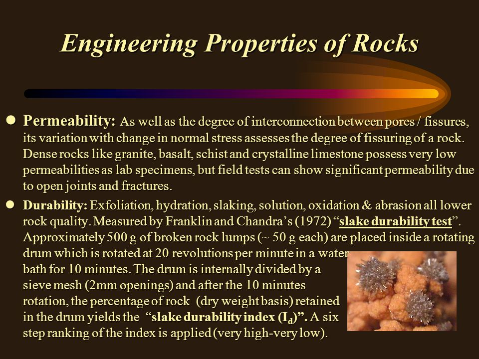 Engineering Properties of Rocks vStrength- Use Point Load Test of Broch and Franklin (1972).