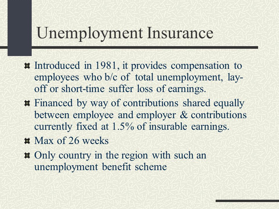 Unemployment Insurance Introduced in 1981, it provides compensation to employees who b/c of total unemployment, lay- off or short-time suffer loss of earnings.