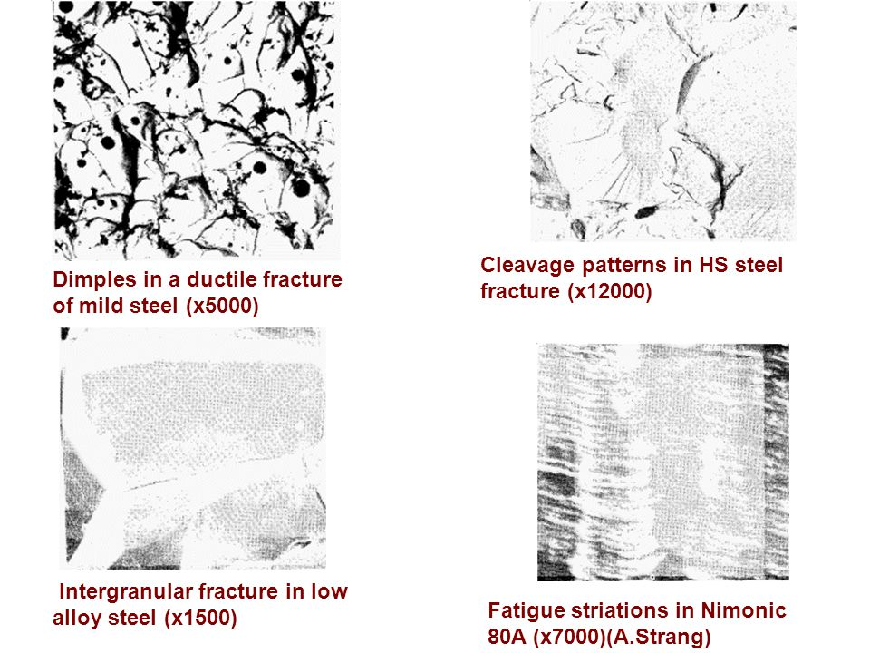 Dimples in a ductile fracture of mild steel (x5000) Cleavage patterns in HS steel fracture (x12000) Intergranular fracture in low alloy steel (x1500)