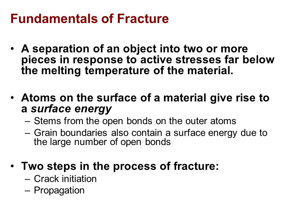 Brittle fracture Brittle fracture is characterised by the very small amount of work absorbed and by a crystalline appearance of the surfaces of fracture, often with a chevron pattern pointing to the origin of fracture, due to the formation of discontinuous cleavage cracks which join up