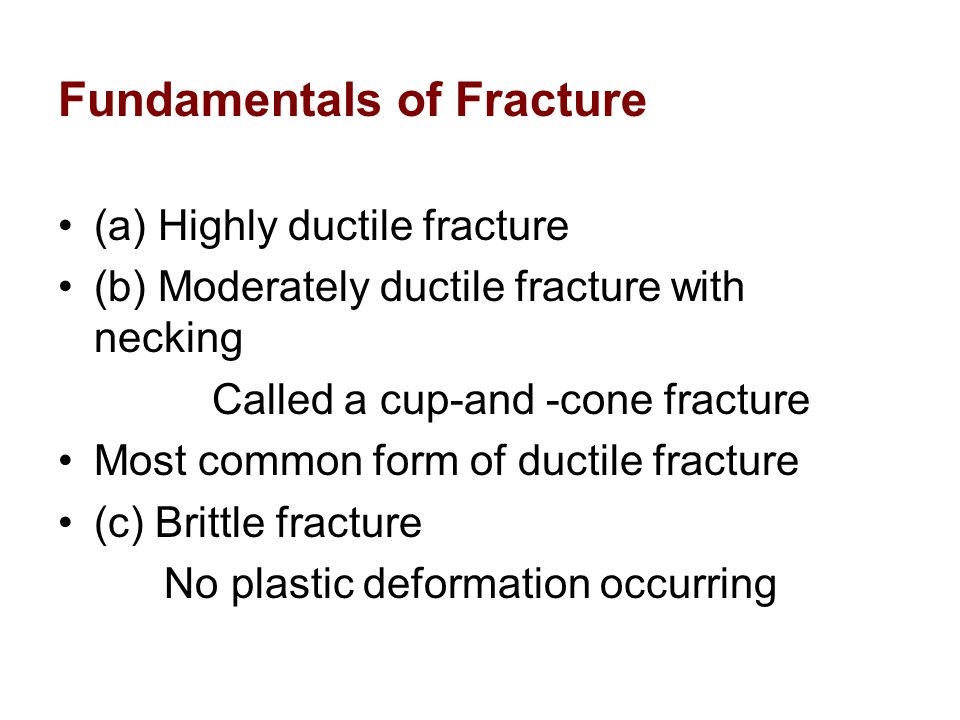 Fracture Toughness Stresses near the crack tip of a material can also be characterized by the stress intensity factor, K, A critical value of K exists, similar to the value sc, known as fracture toughness given by: –Y is a dimensionless parameter that depends on both the specimen and crack geometries.