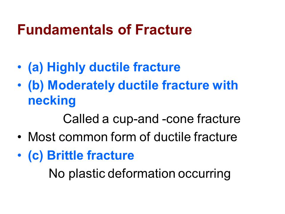 Ductile Fracture Involves a substantial amount of plastic deformation and energy absorption before failure.
