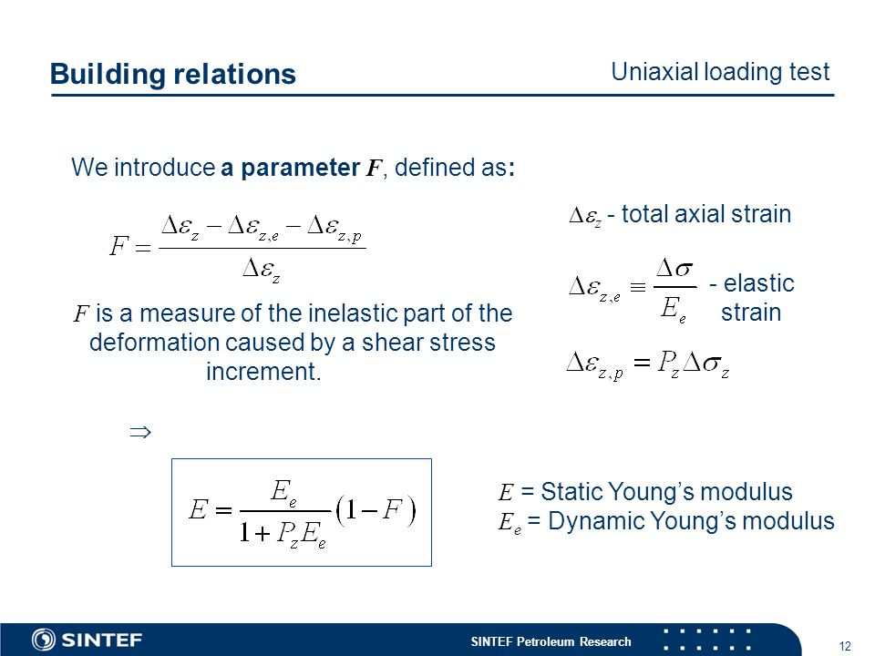 SINTEF Petroleum Research 12 We introduce a parameter F, defined as: F is a measure of the inelastic part of the deformation caused by a shear stress increment.