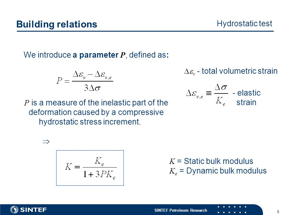 SINTEF Petroleum Research 8 We introduce a parameter P, defined as: P is a measure of the inelastic part of the deformation caused by a compressive hydrostatic stress increment.