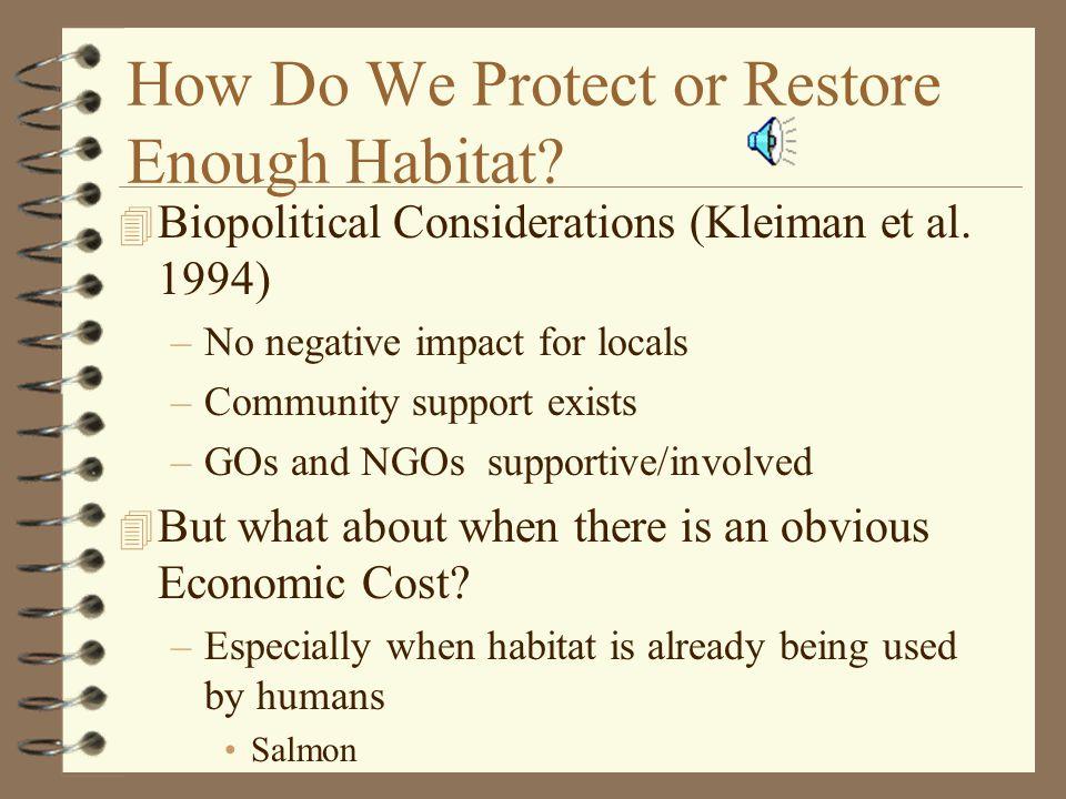 How Do We Protect or Restore Enough Habitat.4 Biopolitical Considerations (Kleiman et al.