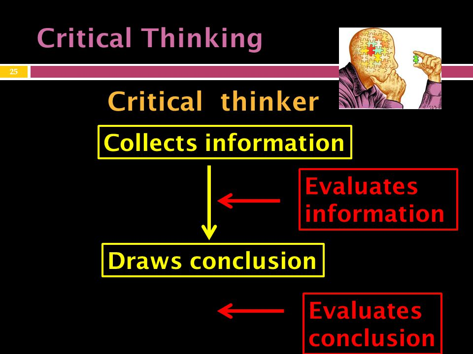 Critical Thinking Critical thinker Collects information Draws conclusion Evaluates information Evaluates conclusion 25