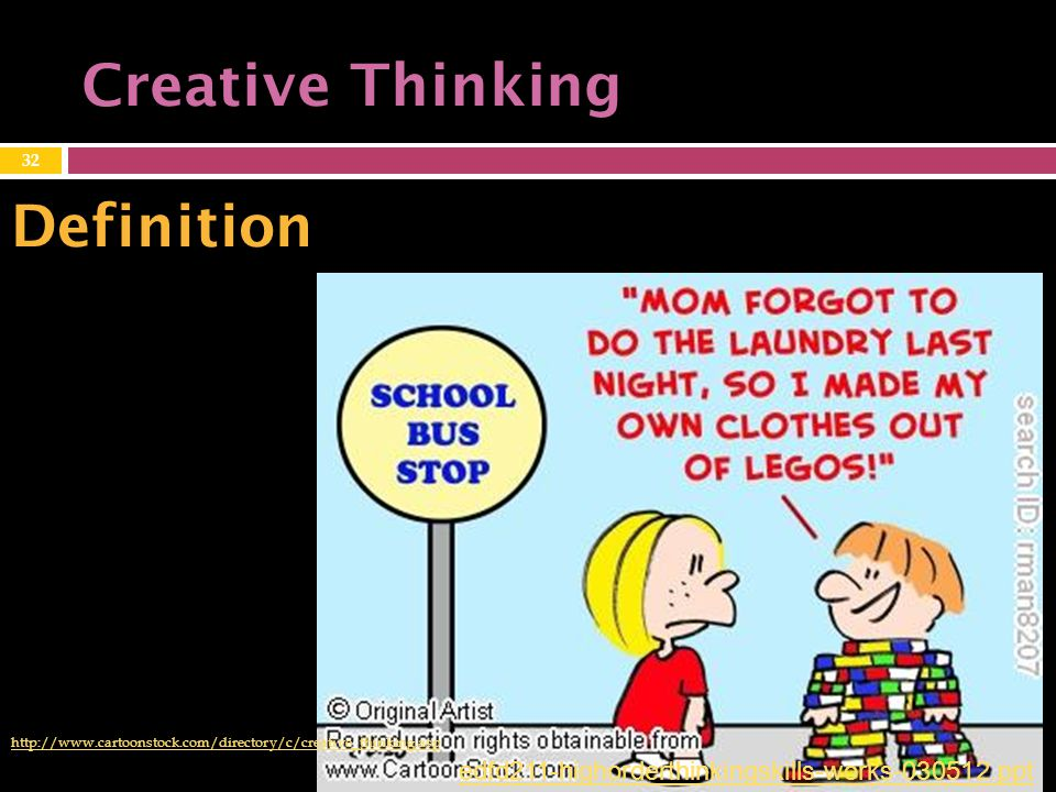 Creative Thinking http://www.cartoonstock.com/directory/c/creative_thinking.asp 32 Definition edfd211-highorderthinkingskills-works-030512.ppt