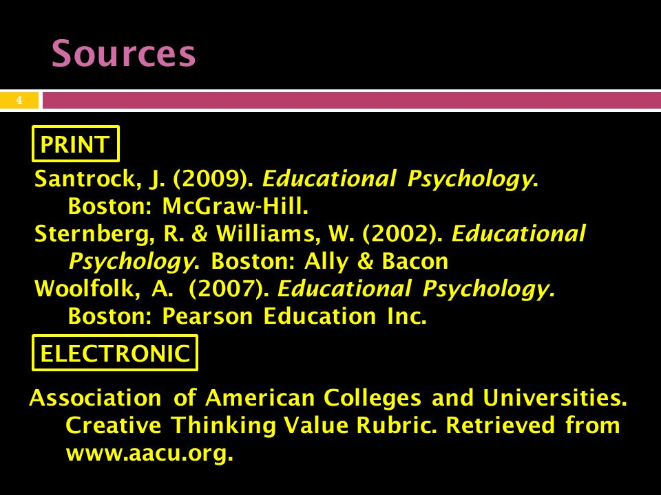 Sources Santrock, J.(2009). Educational Psychology.