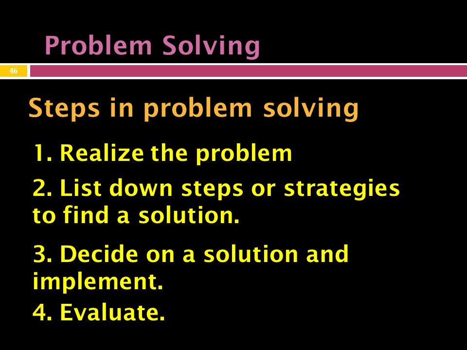 Problem Solving Steps in problem solving 1.Realize the problem 2.