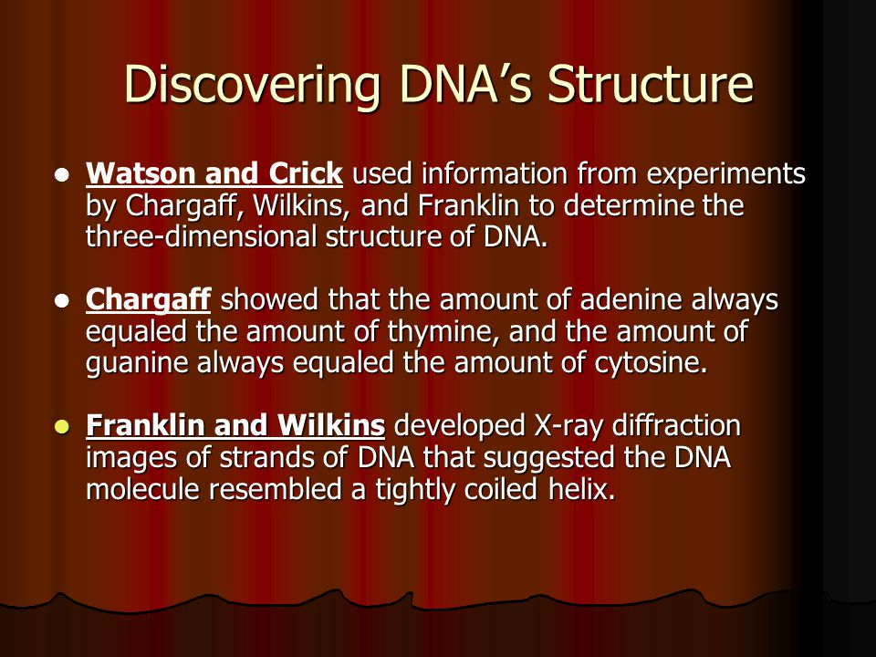 Discovering DNA's Structure used information from experiments by Chargaff, Wilkins, and Franklin to determine the three-dimensional structure of DNA.