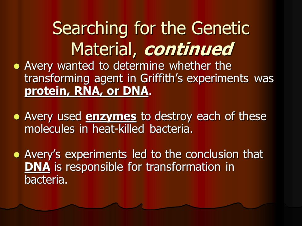Searching for the Genetic Material, continued Avery wanted to determine whether the transforming agent in Griffith's experiments was protein, RNA, or DNA.