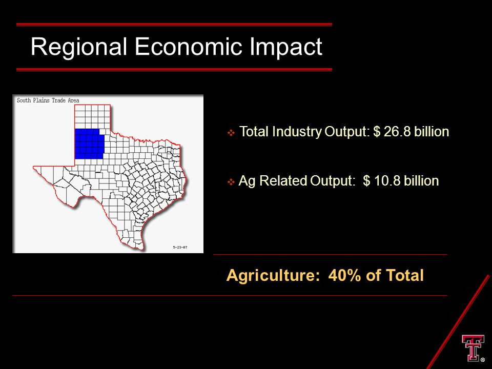 Regional Economic Impact  Total Industry Output: $ 26.8 billion  Ag Related Output: $ 10.8 billion Agriculture: 40% of Total ®