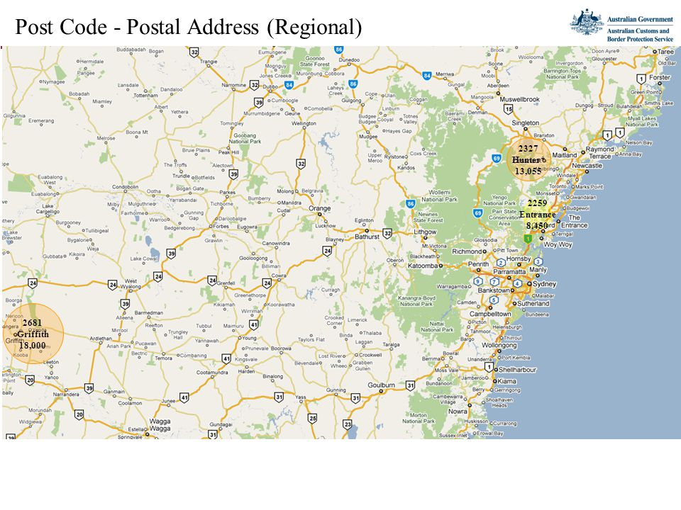Post Code - Postal Address (Regional) 2681 Griffith 18,000 2327 Hunter* 13,055 2259 Entrance 8,450