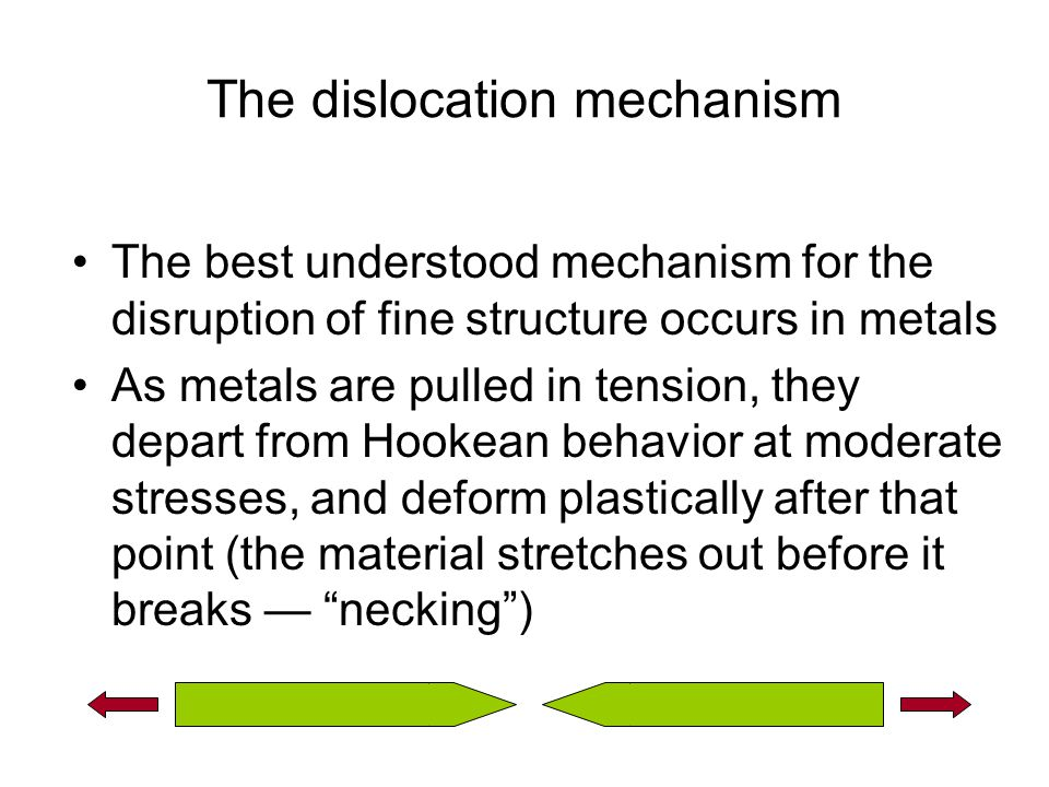 The dislocation mechanism The best understood mechanism for the disruption of fine structure occurs in metals As metals are pulled in tension, they depart from Hookean behavior at moderate stresses, and deform plastically after that point (the material stretches out before it breaks — necking )