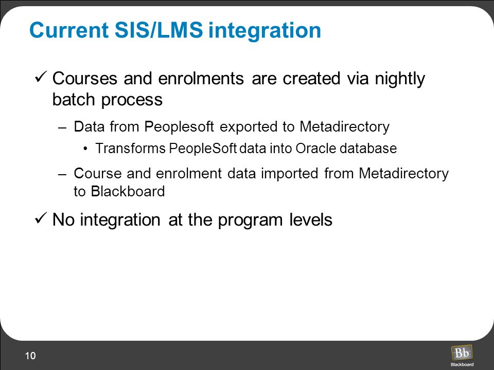10 Current SIS/LMS integration Courses and enrolments are created via nightly batch process –Data from Peoplesoft exported to Metadirectory Transforms PeopleSoft data into Oracle database –Course and enrolment data imported from Metadirectory to Blackboard No integration at the program levels