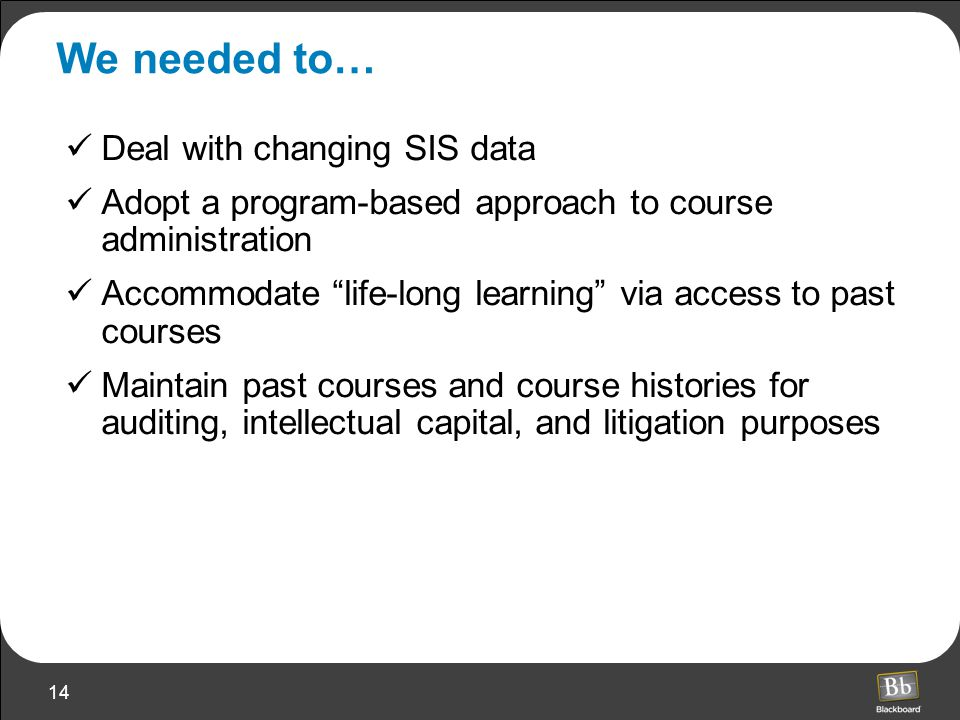 14 We needed to… Deal with changing SIS data Adopt a program-based approach to course administration Accommodate life-long learning via access to past courses Maintain past courses and course histories for auditing, intellectual capital, and litigation purposes