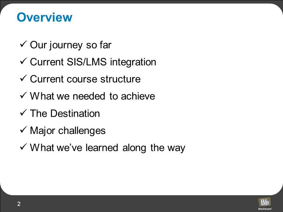 2 Overview Our journey so far Current SIS/LMS integration Current course structure What we needed to achieve The Destination Major challenges What we've learned along the way