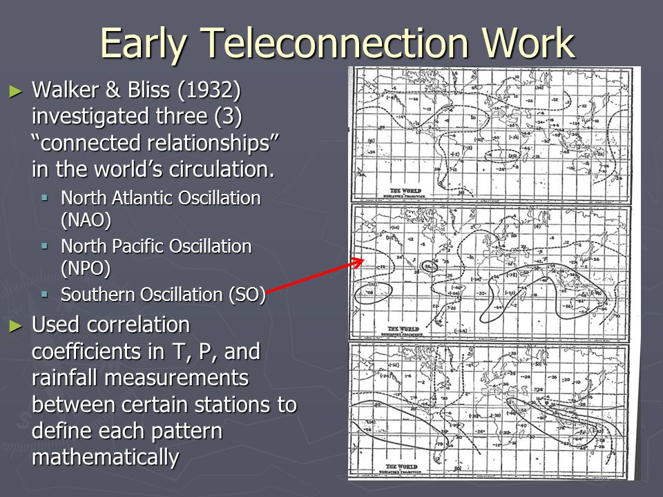 Early Teleconnection Work ► Walker & Bliss (1932) investigated three (3) connected relationships in the world's circulation.