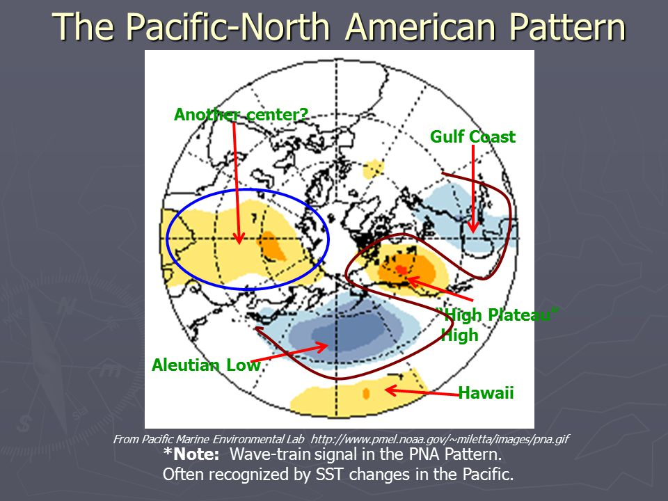 The Pacific-North American Pattern From Pacific Marine Environmental Lab http://www.pmel.noaa.gov/~miletta/images/pna.gif Aleutian Low Hawaii High Plateau High Gulf Coast *Note: Wave-train signal in the PNA Pattern.