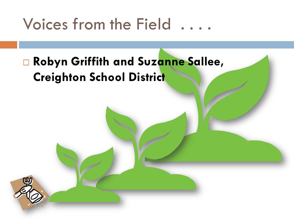 Voices from the Field....  Robyn Griffith and Suzanne Sallee, Creighton School District