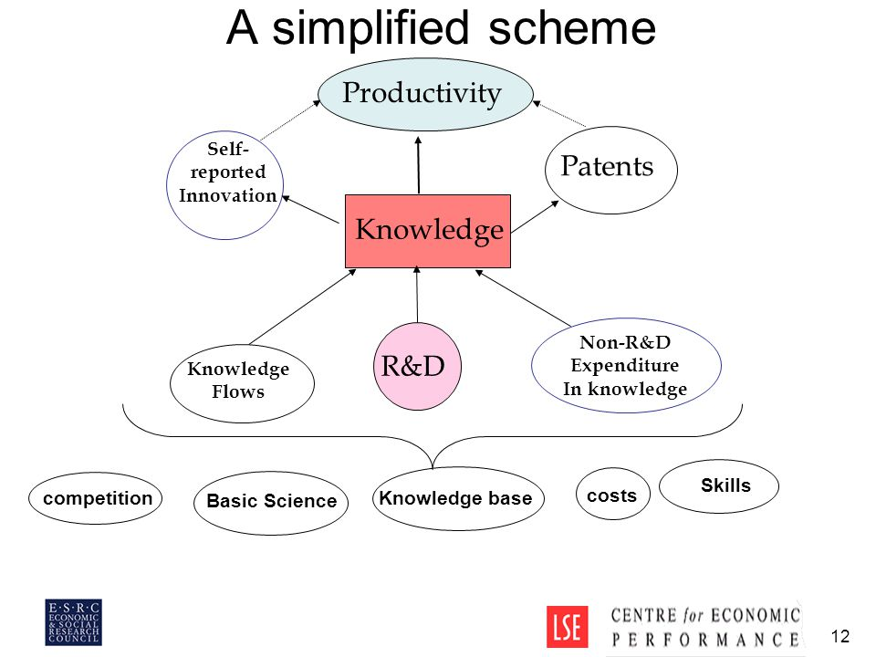 12 A simplified scheme Knowledge R&D Non-R&D Expenditure In knowledge Self- reported Innovation Patents Productivity Knowledge Flows competition costs