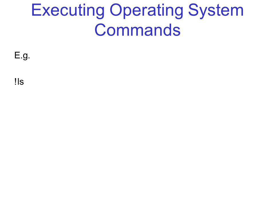 Executing Operating System Commands E.g. !ls