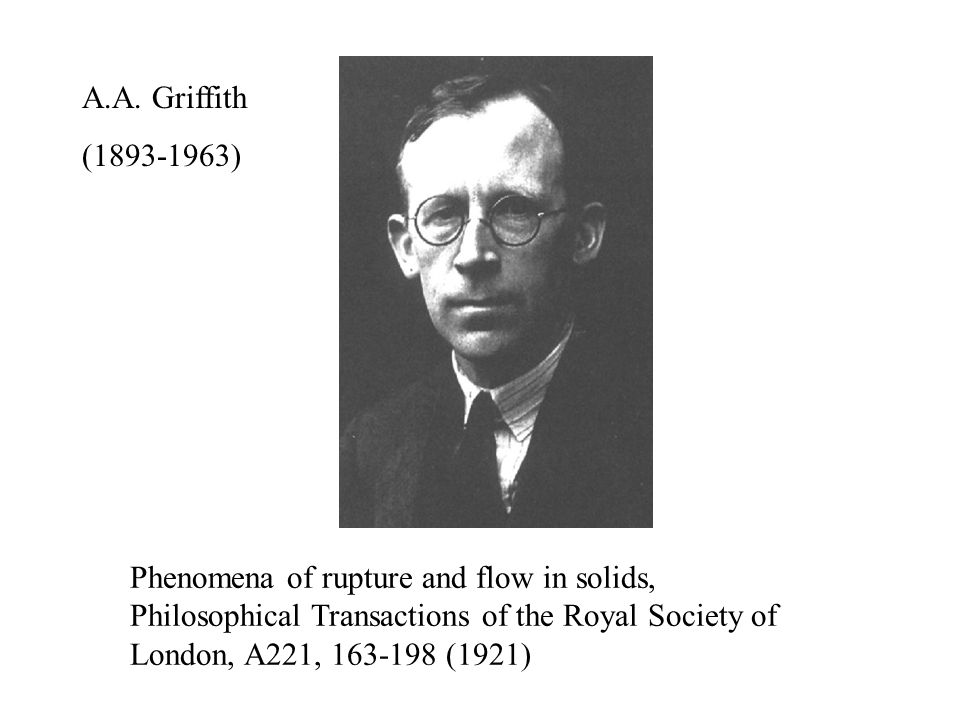 Phenomena of rupture and flow in solids, Philosophical Transactions of the Royal Society of London, A221, 163-198 (1921) A.A.