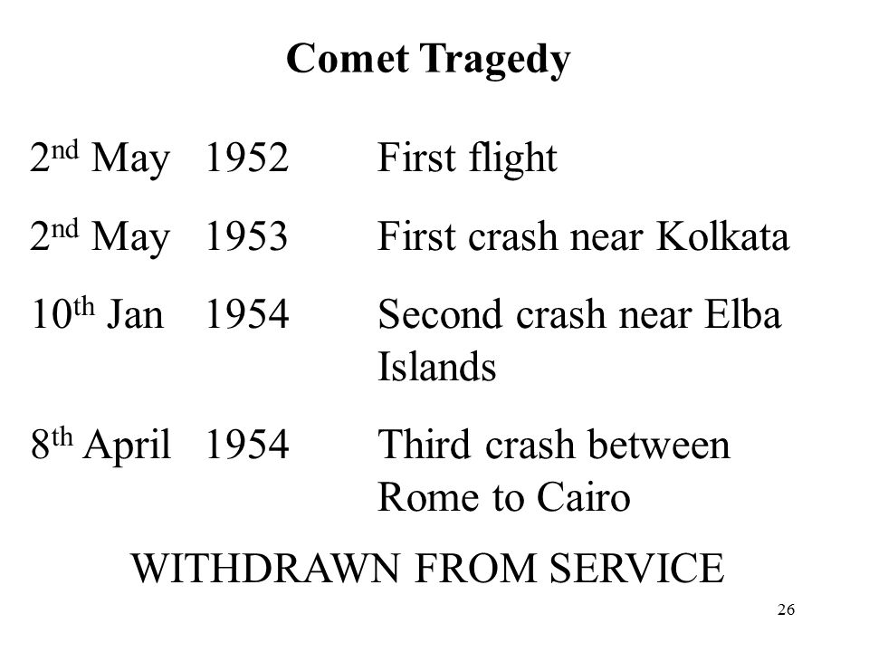 26 Comet Tragedy 2 nd May 1952First flight 2 nd May 1953First crash near Kolkata 10 th Jan 1954Second crash near Elba Islands 8 th April1954Third crash between Rome to Cairo WITHDRAWN FROM SERVICE