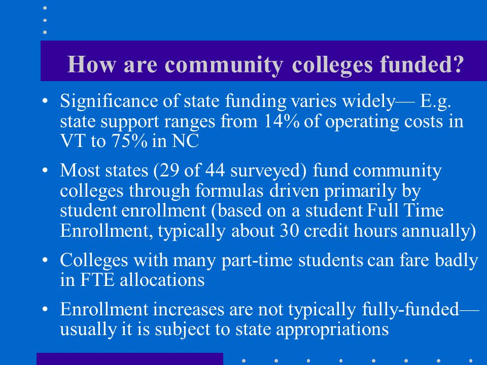How are community colleges funded. Significance of state funding varies widely— E.g.