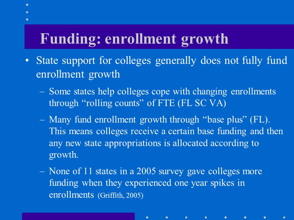 Funding: enrollment growth State support for colleges generally does not fully fund enrollment growth –Some states help colleges cope with changing enrollments through rolling counts of FTE (FL SC VA) –Many fund enrollment growth through base plus (FL).