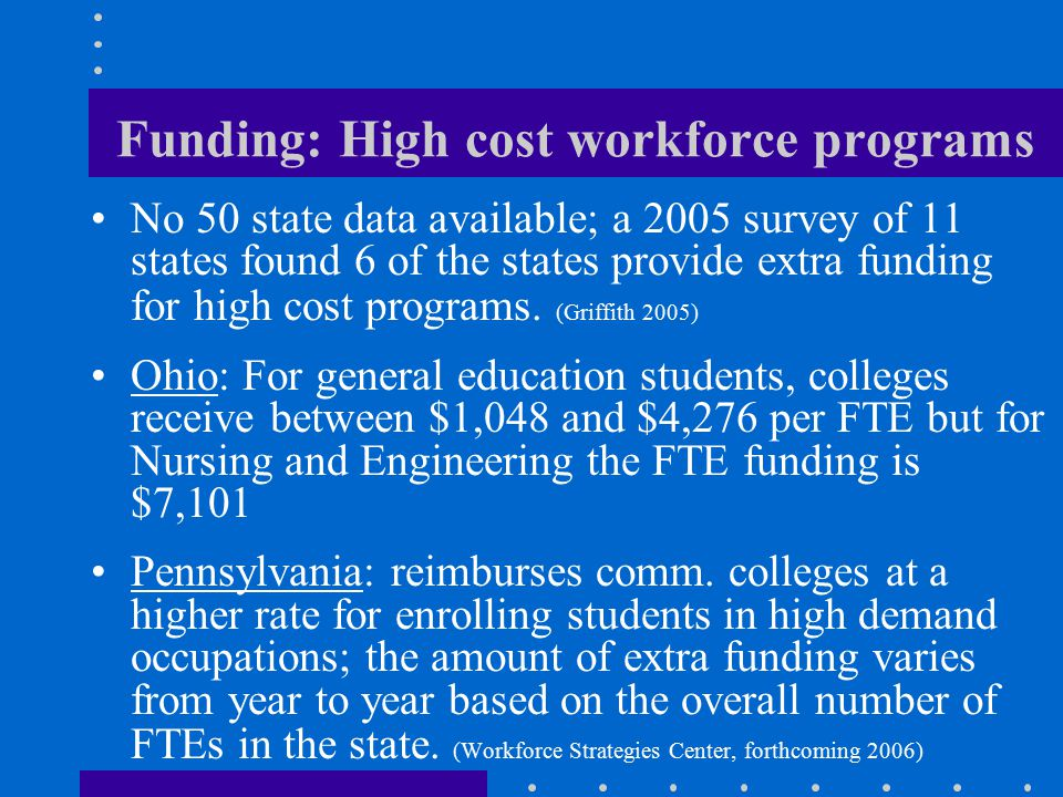 Funding: High cost workforce programs No 50 state data available; a 2005 survey of 11 states found 6 of the states provide extra funding for high cost programs.