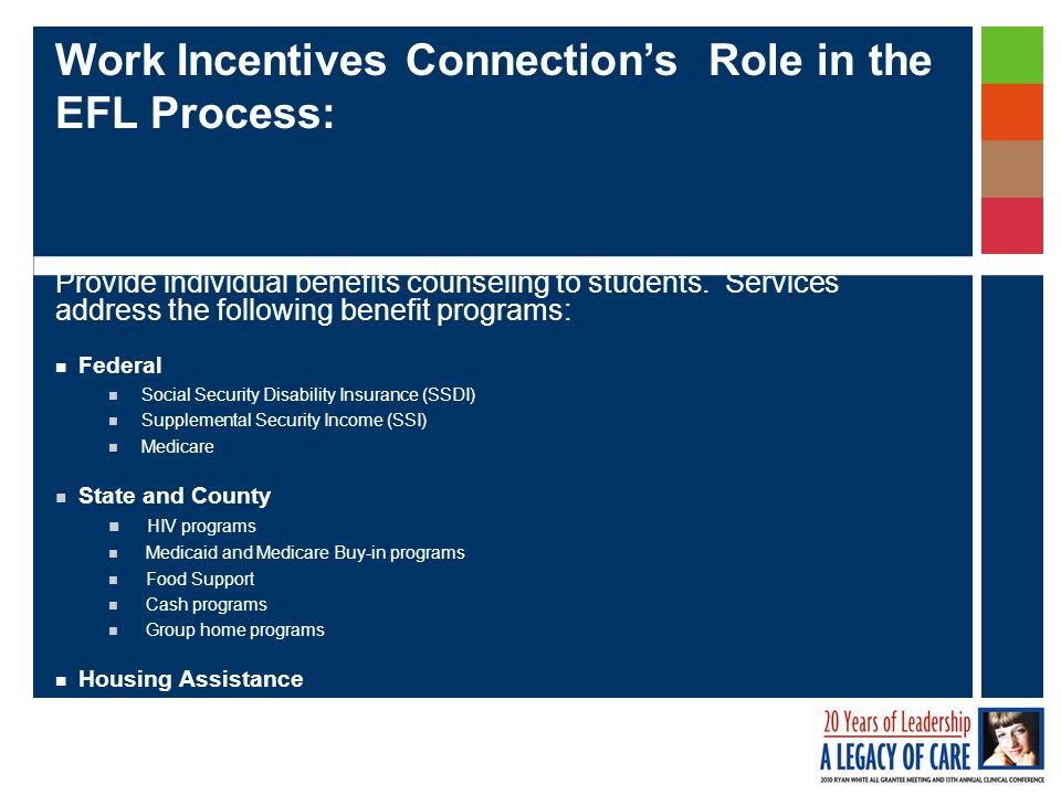 Work Incentives Connection's Role in the EFL Process: Provide individual benefits counseling to students.