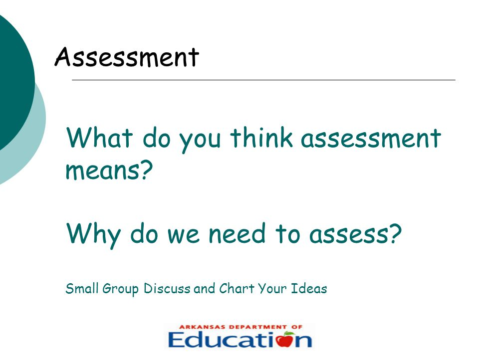What do you think assessment means. Why do we need to assess.