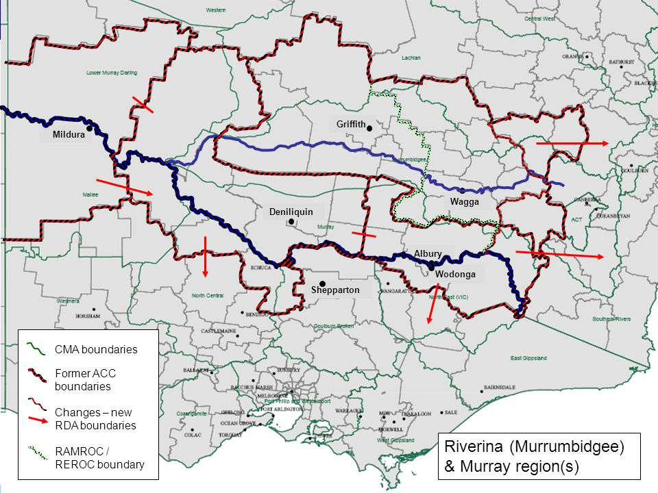 The Federalism Project Griffith Wagga Wodonga Albury Shepparton Deniliquin Mildura CMA boundaries Former ACC boundaries Changes – new RDA boundaries R
