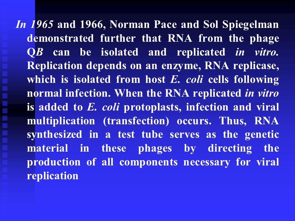In 1965 and 1966, Norman Pace and Sol Spiegelman demonstrated further that RNA from the phage QB can be isolated and replicated in vitro.