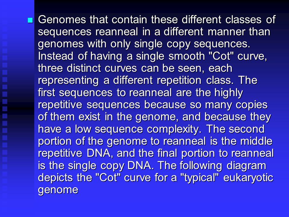 Genomes that contain these different classes of sequences reanneal in a different manner than genomes with only single copy sequences.