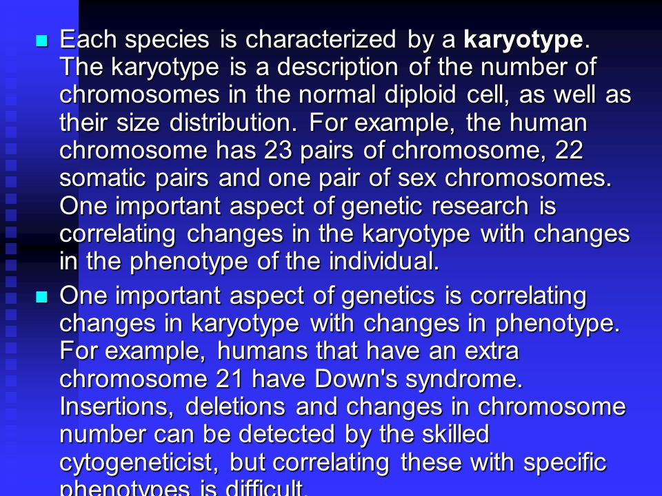 Each species is characterized by a karyotype.
