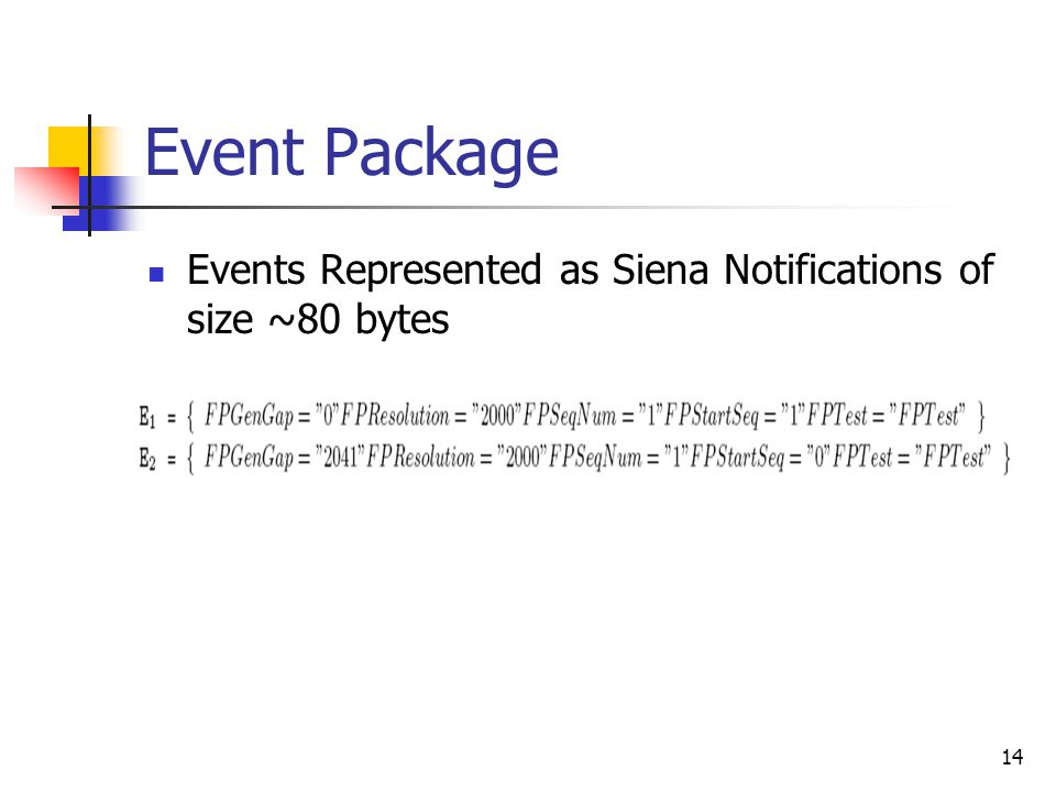 14 Event Package Events Represented as Siena Notifications of size ~80 bytes