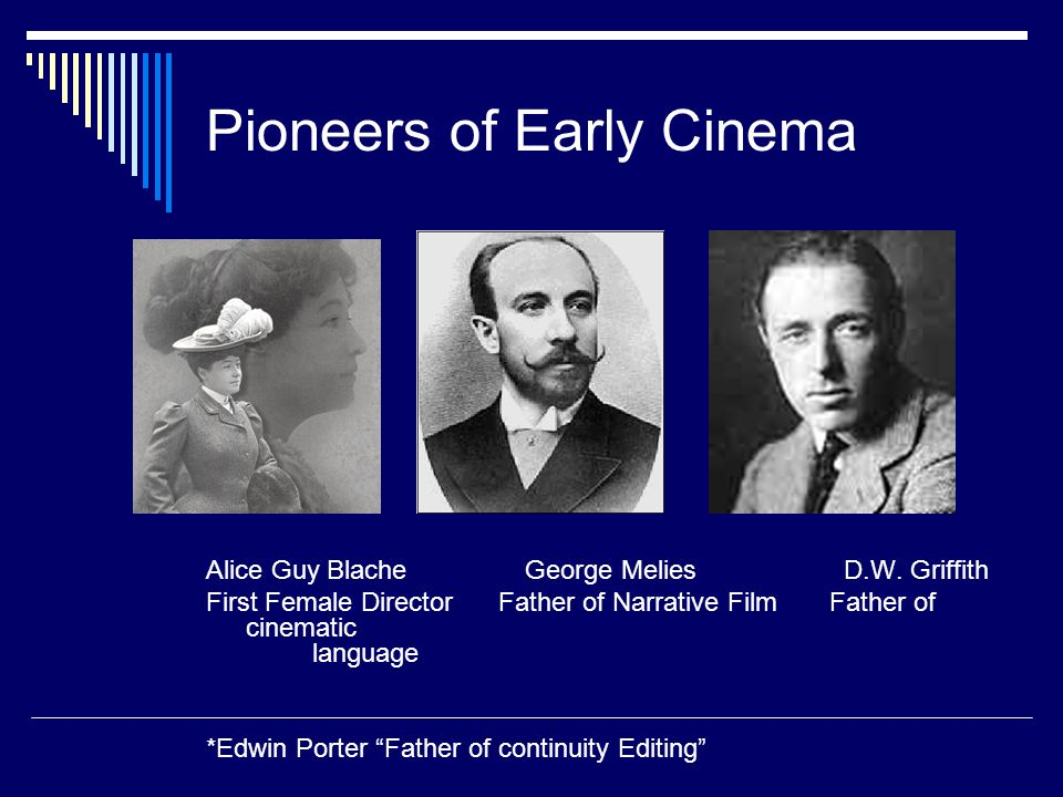 Pioneers of Early Cinema Alice Guy Blache George MeliesD.W.
