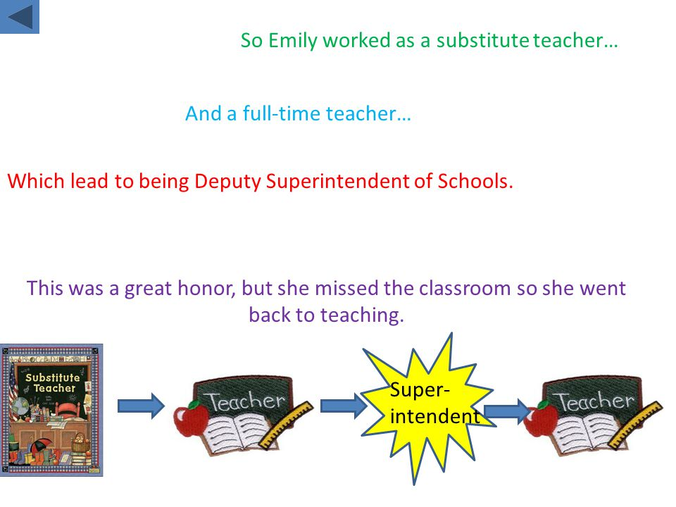 So Emily worked as a substitute teacher… And a full-time teacher… Which lead to being Deputy Superintendent of Schools.