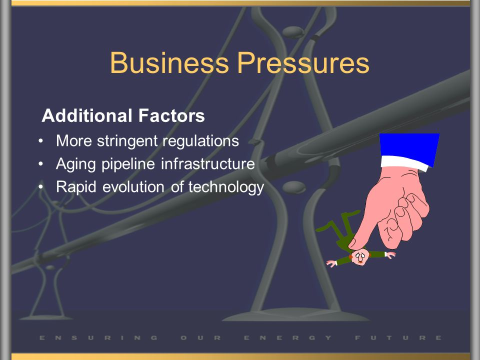 Business Pressures More stringent regulations Aging pipeline infrastructure Rapid evolution of technology Additional Factors