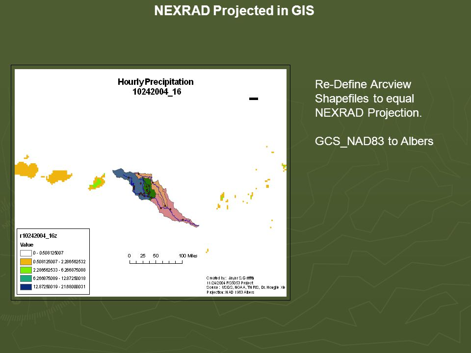 NEXRAD Projected in GIS Re-Define Arcview Shapefiles to equal NEXRAD Projection.