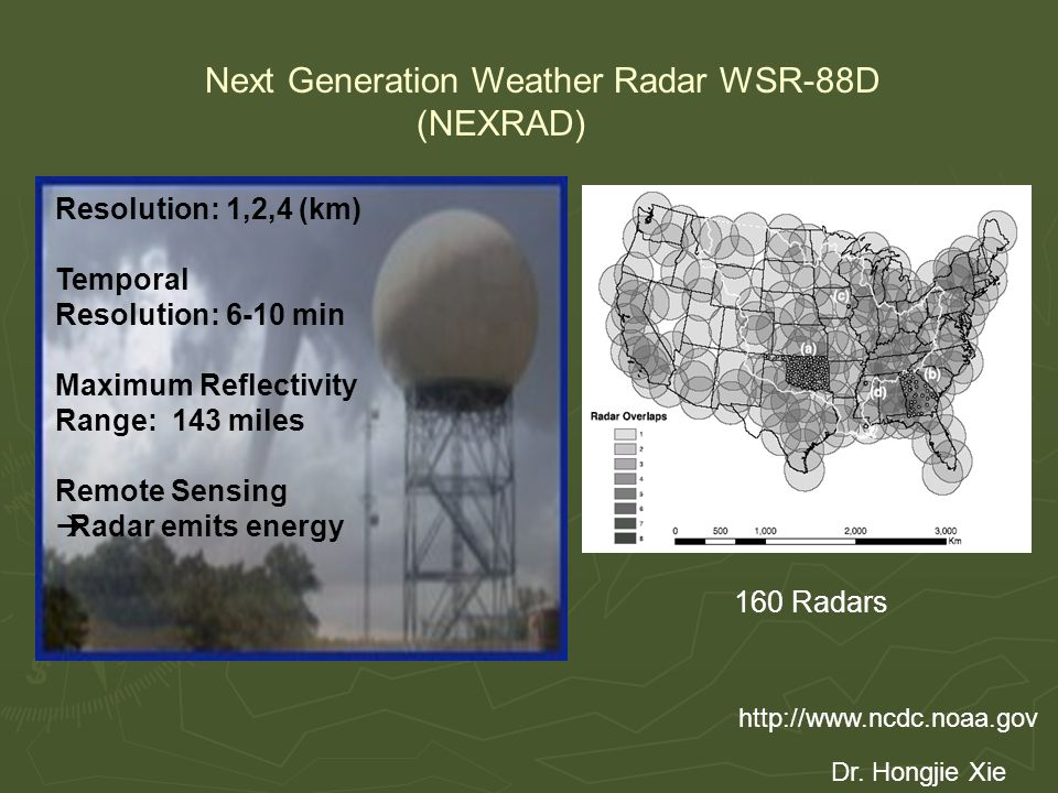 http://www.ncdc.noaa.gov Next Generation Weather Radar WSR-88D (NEXRAD) Resolution: 1,2,4 (km) Temporal Resolution: 6-10 min Maximum Reflectivity Range: 143 miles Remote Sensing  Radar emits energy Dr.
