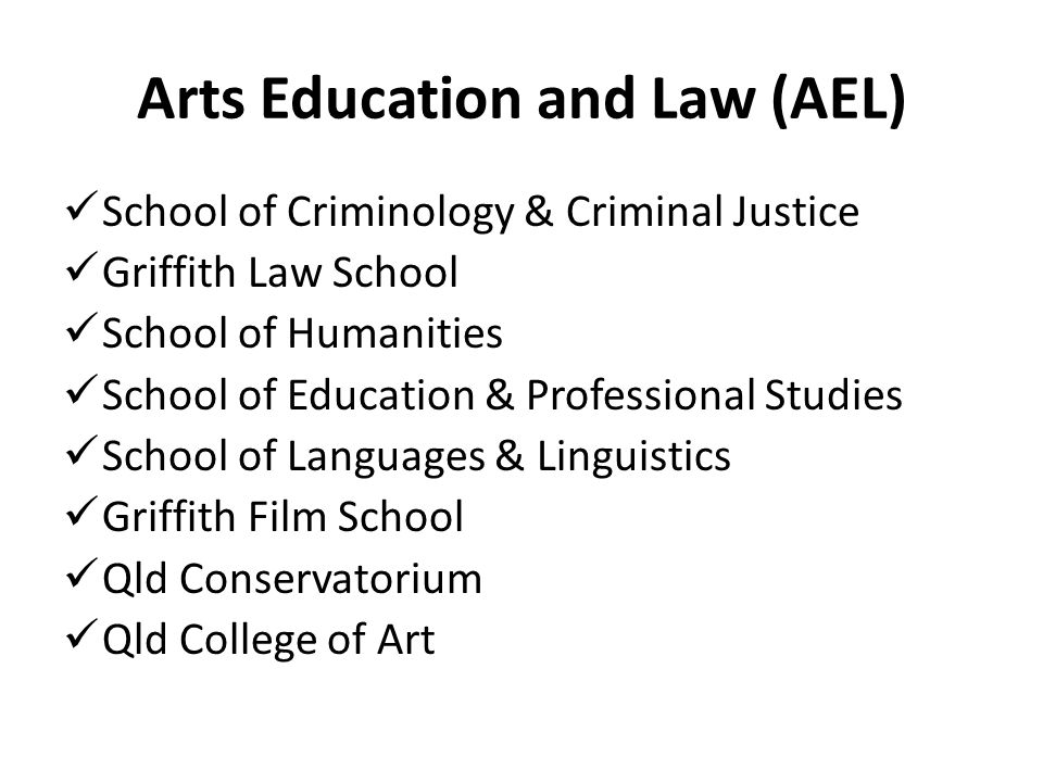 Arts Education and Law (AEL) School of Criminology & Criminal Justice Griffith Law School School of Humanities School of Education & Professional Studies School of Languages & Linguistics Griffith Film School Qld Conservatorium Qld College of Art