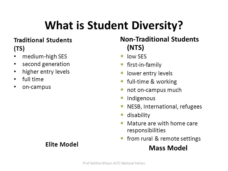 What is Student Diversity? Traditional Students (TS) medium-high SES second generation higher entry levels full time on-campus Elite Model Non-Traditi