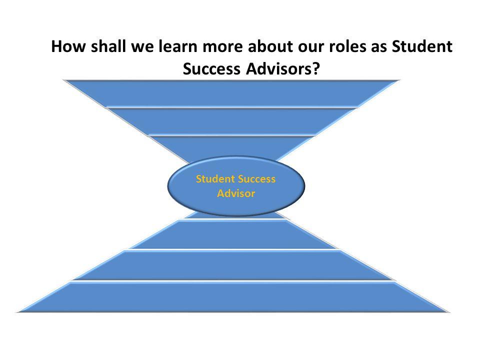 Student Success Advisor How shall we learn more about our roles as Student Success Advisors