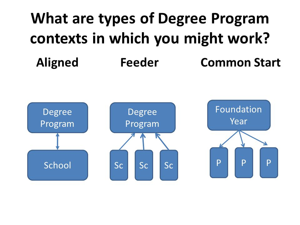What are types of Degree Program contexts in which you might work? Aligned Feeder Common Start Degree Program School P Sc Foundation Year Degree Progr