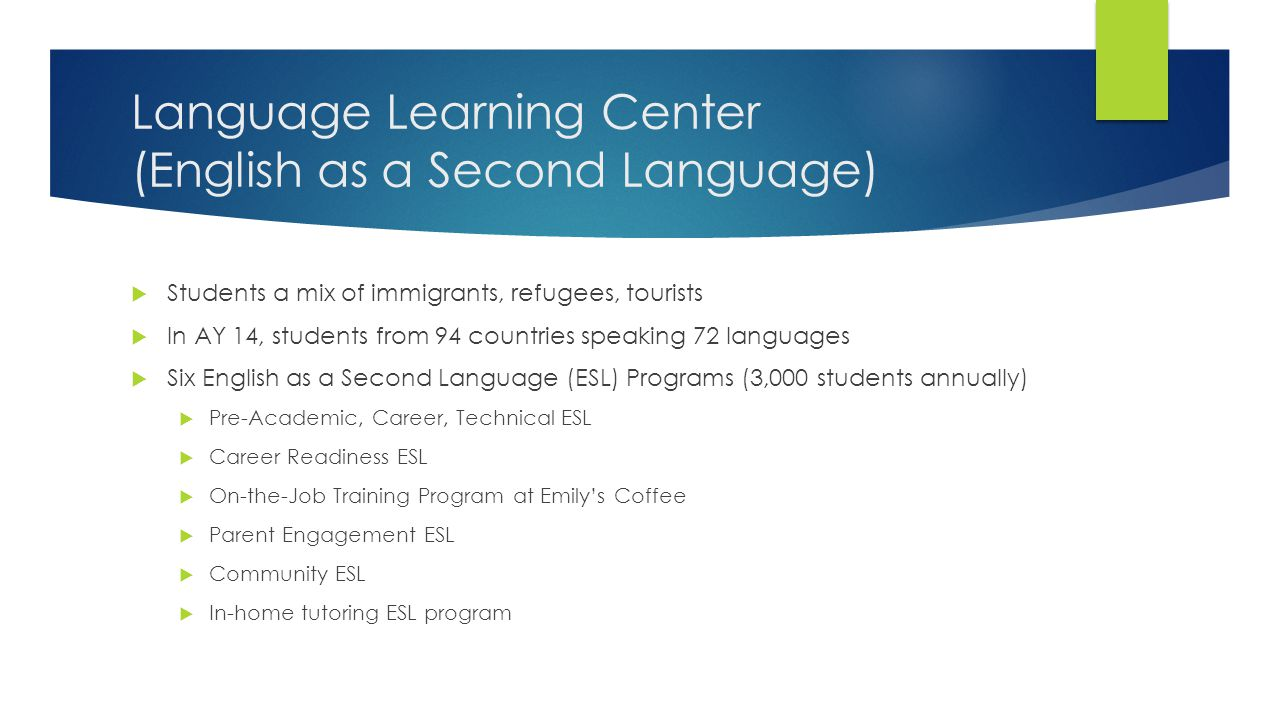 Language Learning Center (English as a Second Language)  Students a mix of immigrants, refugees, tourists  In AY 14, students from 94 countries speaking 72 languages  Six English as a Second Language (ESL) Programs (3,000 students annually)  Pre-Academic, Career, Technical ESL  Career Readiness ESL  On-the-Job Training Program at Emily's Coffee  Parent Engagement ESL  Community ESL  In-home tutoring ESL program