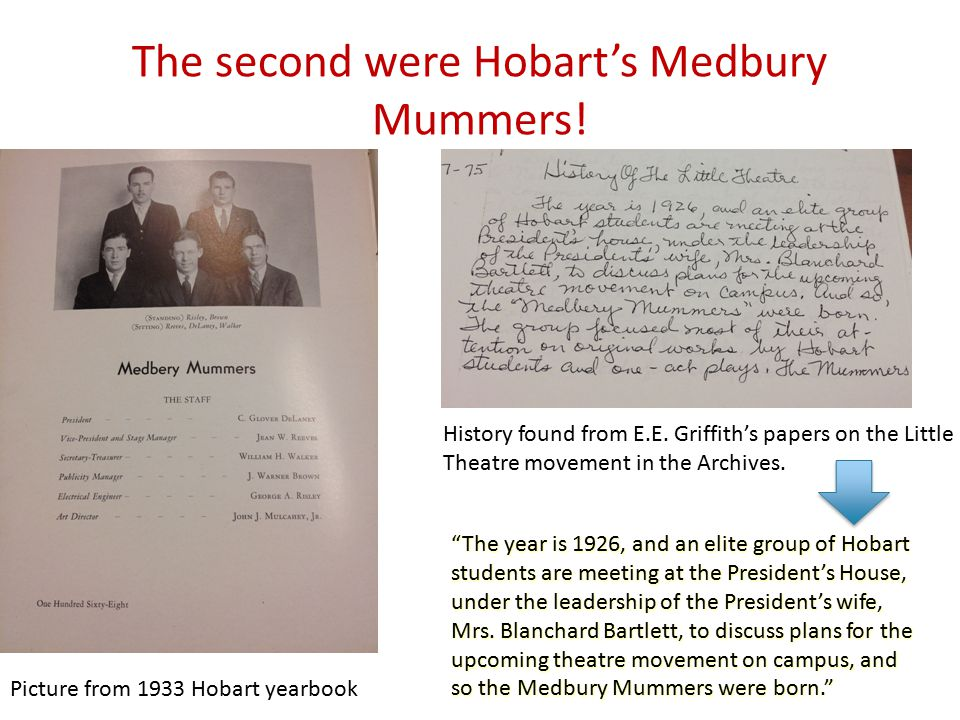 "The second were Hobart's Medbury Mummers! ""The year is 1926, and an elite group of Hobart students are meeting at the President's House, under the lea"