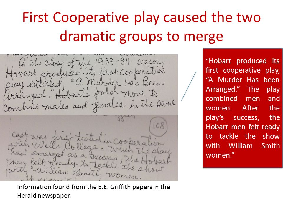 "First Cooperative play caused the two dramatic groups to merge Information found from the E.E. Griffith papers in the Herald newspaper. "" Hobart produ"